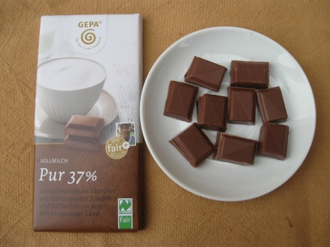 Petershausener Schokolade – z.B. Bio Vollmilchschokolade Pur 37 %
