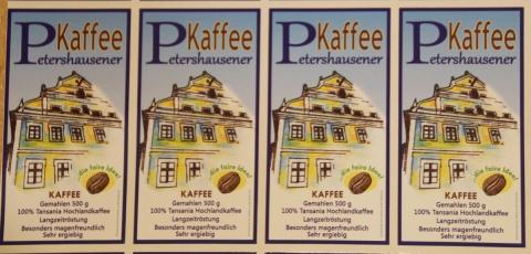 Petershausener Kaffee mit Etiketten aus Weichs